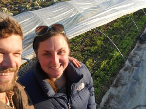 Ben & Patricia taking a selfie during winter harvest.
